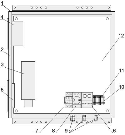 Схема расположения оборудования в термобоксе ТБ-2